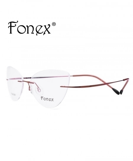 Red Rimless Titanium Ultralight Cat Eye Screwless Optical Frame