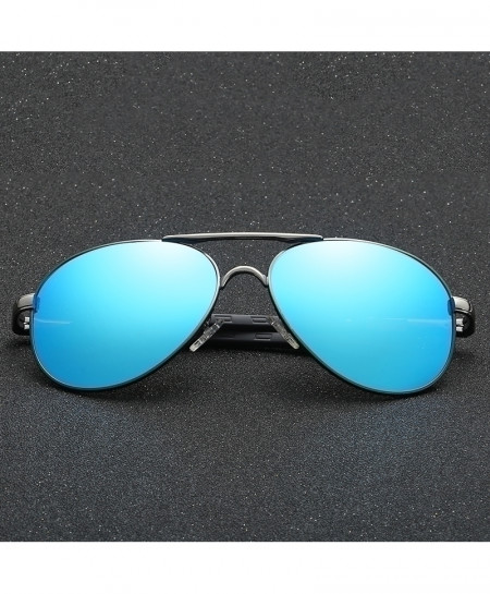 Blue Golden Designer Aviator Polarized Sunglasses