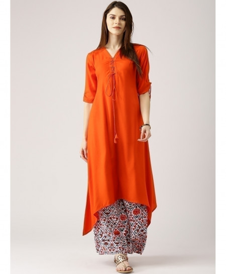 Orange Airline Frock Laces Style Ladies Kurti ALK-120