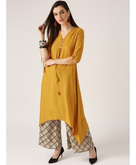 R Gold Airline Frock Laces Style Ladies Kurti ALK-119