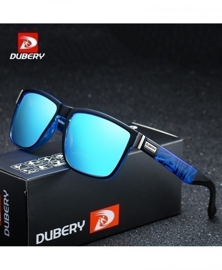 DUBERY Blue Designer Polarized Square Sunglasses