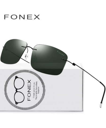 Green Rimless Polarized Titanium Design Frameless Squared Light Weight Sunglasses