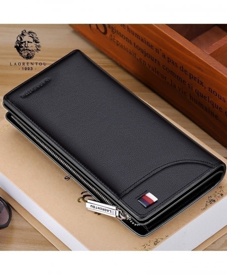 LAORENTOU Cow Leather Long Clutch Zipper Wallet