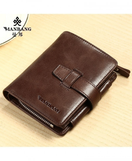 ManBang Dark Brown Cowhide Leather Wallets