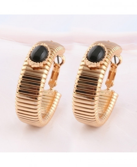 NeeFu WoFu Black Hoop Stone Big Earring