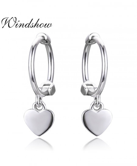 Cute 925 Sterling Silver Tiny Heart Charms Circles Earrings