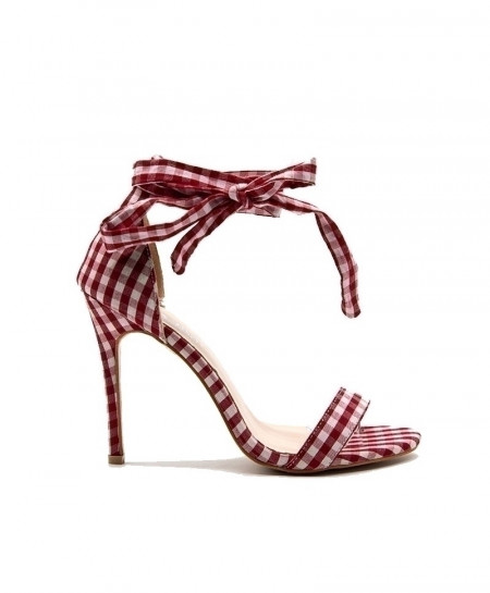 LALA IKAI Red Scottish Plaid High Cross-Tied Heels Ankle Strap Ladies Sandals