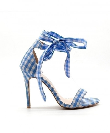 LALA IKAI Blue Scottish Plaid High Cross-Tied Heels Ankle Strap Ladies Sandals