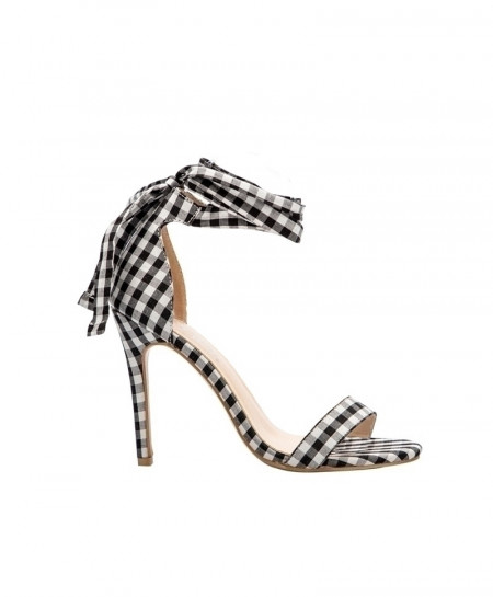 LALA IKAI Black Scottish Plaid High Cross-Tied Heels Ankle Strap Ladies Sandals