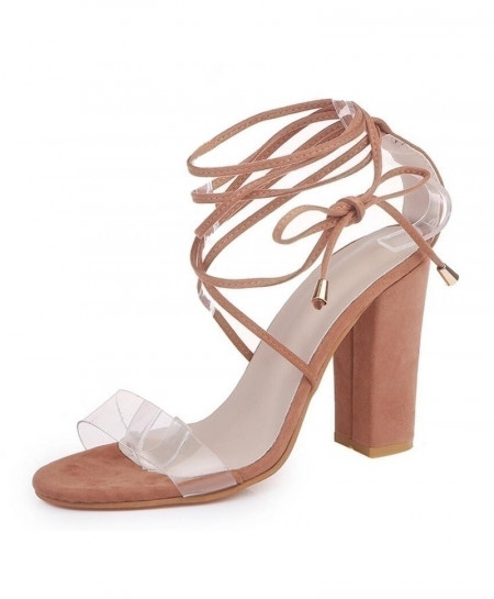 LALA IKAI Nude Ankle Strap Square High Heel Gladiator Party Ladies Sandals