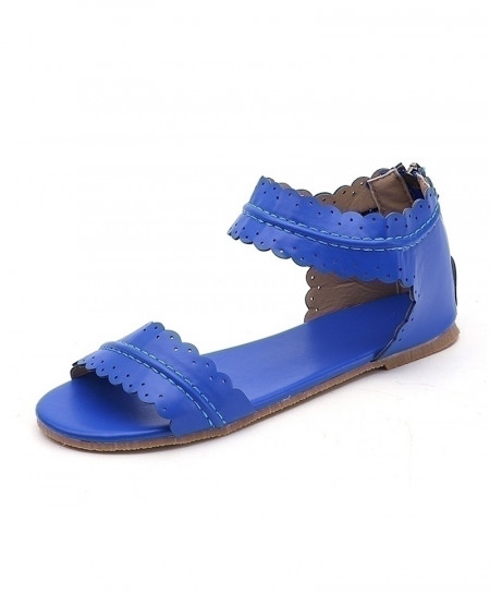 Blue Classics Peep Toe Flats Zip Pu Leather Sandals