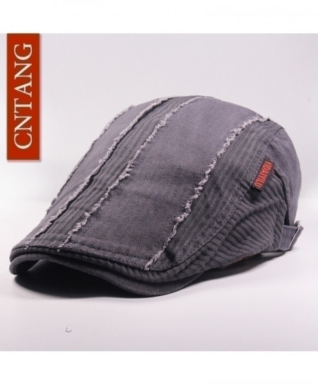 CNTANG Grey Casual Beret Flat Cotton Visor Caps Hat