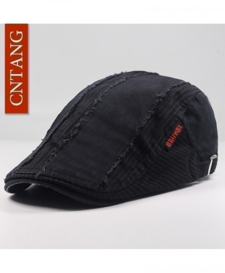 CNTANG Black Casual Beret Flat Cotton Visor Caps Hat