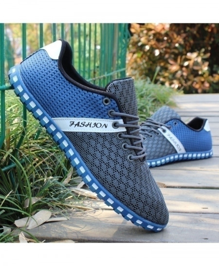 Light Blue Grey Stylish Casual Shoes Mesh