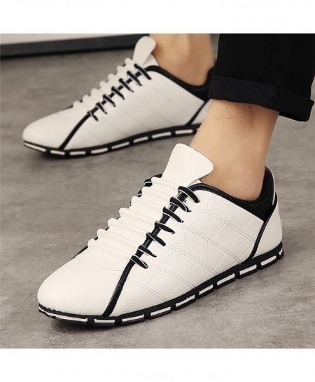 White Designer Flats Leather Casual Lace Up Shoes