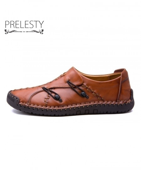 Prelesty Brown Leather Handmade Soft Breathable Casual Shoes