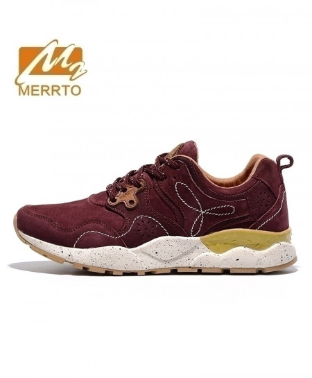 MERRTO Maroon Skidproof Breathable Leather Sports Shoes