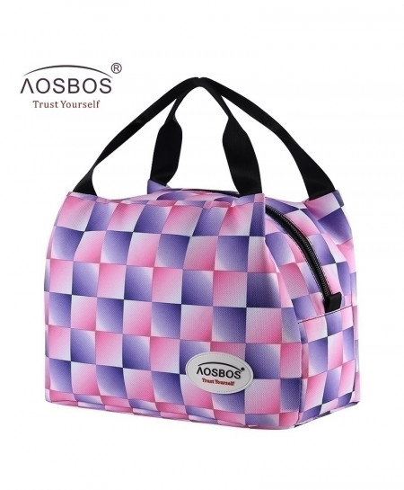 Aosbos Purple Grid Portable Insulated Thermal Food Bag
