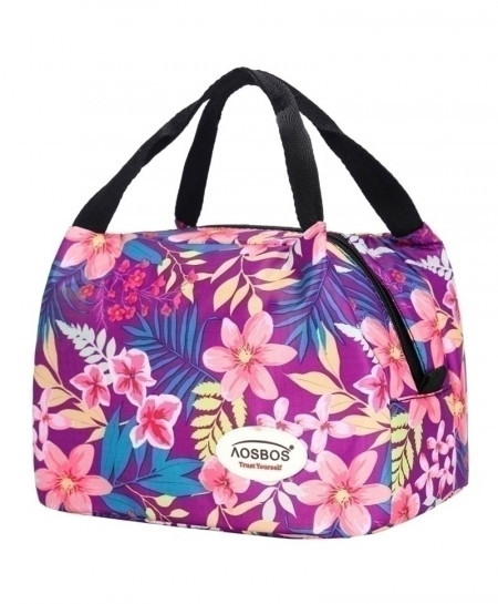 Aosbos Floral Indigo Portable Insulated Thermal Food Bag