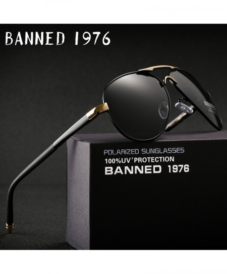 Banned 1976 Black Gold HD Polarized UV 400 Sunglasses