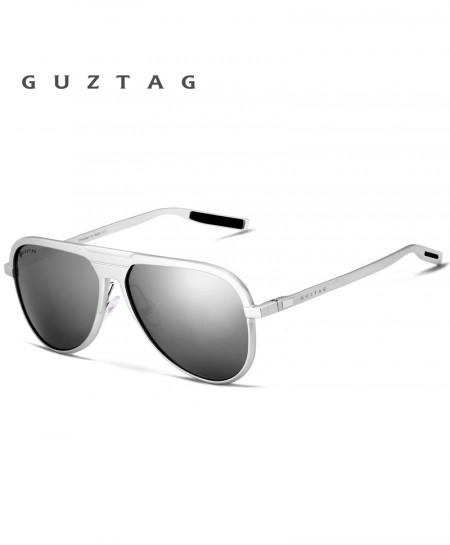 GUZTAG Silver Aluminum HD Polarized UV400 Sunglasses