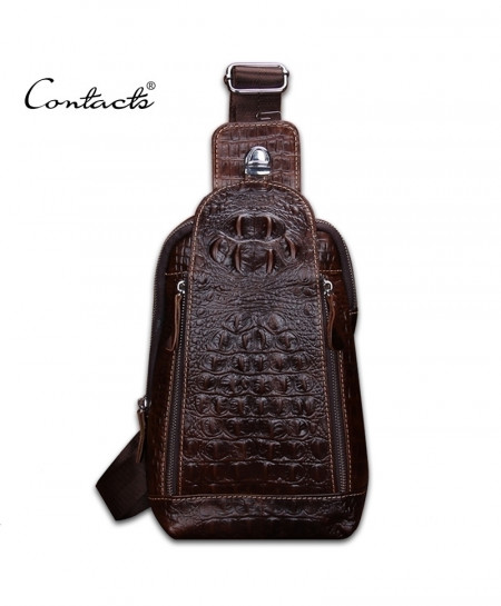 CONTACT Choco Brown Leather Alligator Leather Bag