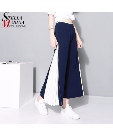 Blue White Patchwork Long Pleated Flare Pants Bell Bottoms Elastic Trouser