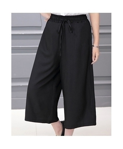 Black Cropped Harem Pants Loose Wide Leg Pants With Pockets Elastic Waist Capri