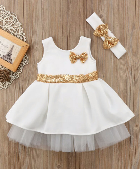 b1b754de9b48 Buy White Gold Baby Frock And Headband AM-387 online in Pakistan ...