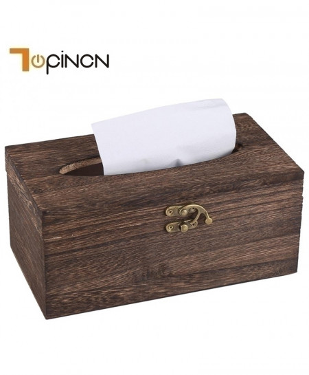 Rectangle Shaped Wood Storage Tissue Box Organizer Holder
