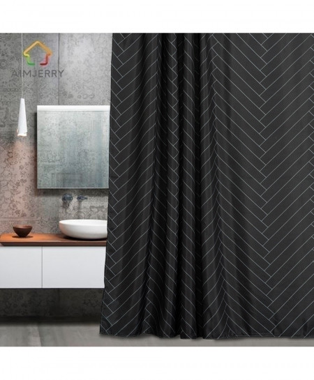 Aimjerry Waterproof Polyester Fabric Black Bathroom London Curtain