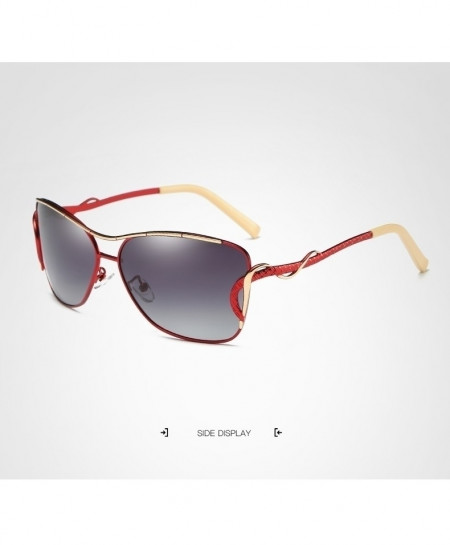 HDCRAFTER Red Fancy Classic Polarized Sunglasses