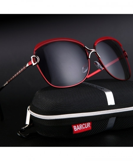 BARCUR Red Gradient Lens Luxury Polarized Sunglasses