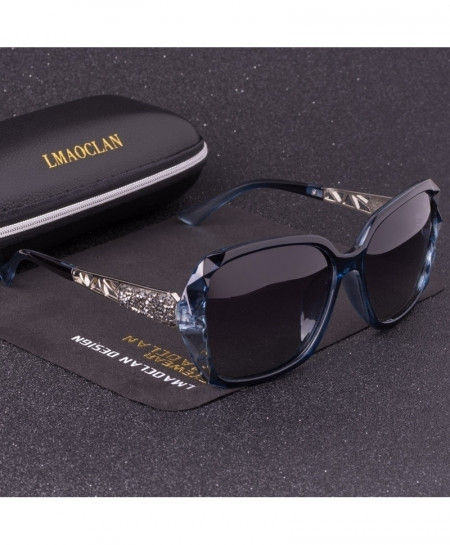 LMAOCLAN Blue HD Polarized Square Gradient Sunglasses