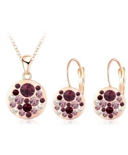 LZESHINE Bronze Platted Golden Austrian Crystal Round Style Pendant Jewelry Set