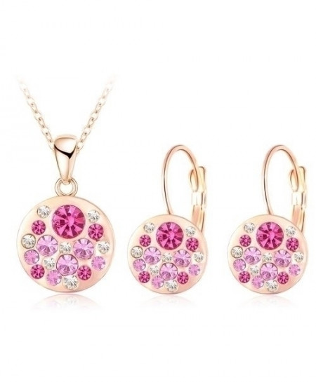LZESHINE Pink Golden Austrian Crystal Round Style Pendant Jewelry Set