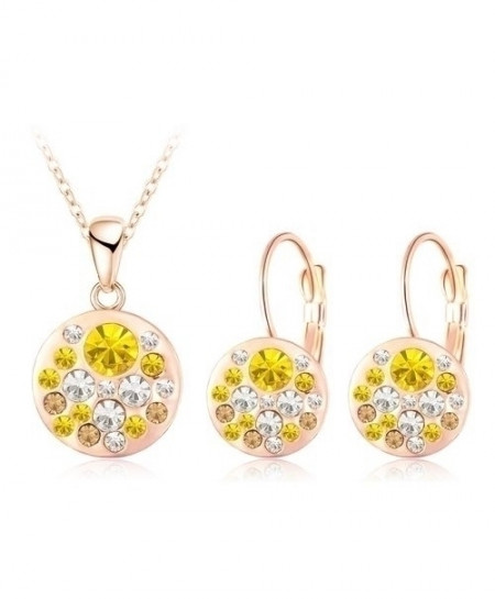LZESHINE Yellow Golden Austrian Crystal Round Style Pendant Jewelry Set
