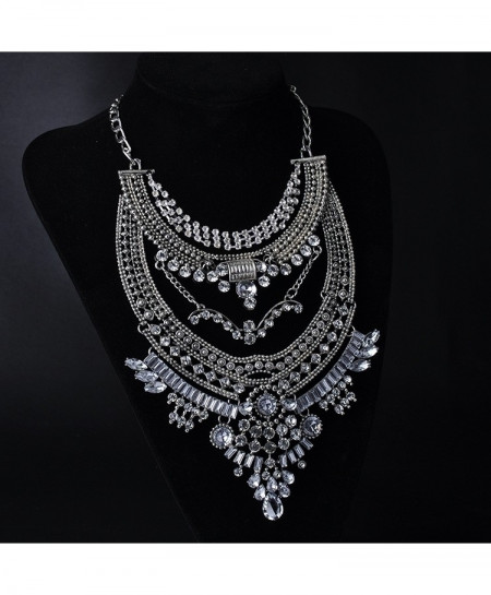 Silver Gypsy Vintage Maxi Jewelry Trendy Collar Ethnic Bohemian Choker Necklace