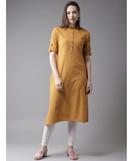 Rust Pleated Shoulder Style Ladies Kurti ALK-128