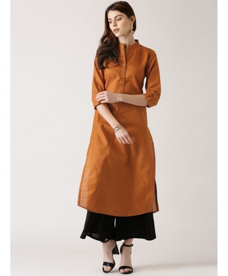 Rust Gold Y Neck Button Style Ladies Kurti ALK-125