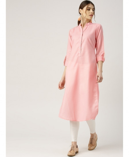 Baby Pink Y Neck Button Style Ladies Kurti ALK-124