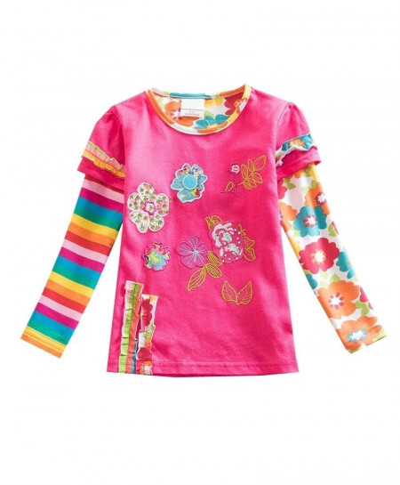 VIKITA Pink Flowers Embroided Girl Long Sleeve T-Shirt