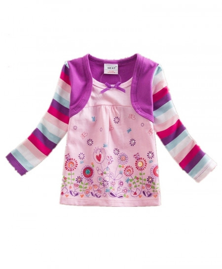VIKITA Purple Multi Stripes Embroided Girl Long Sleeve T-Shirt