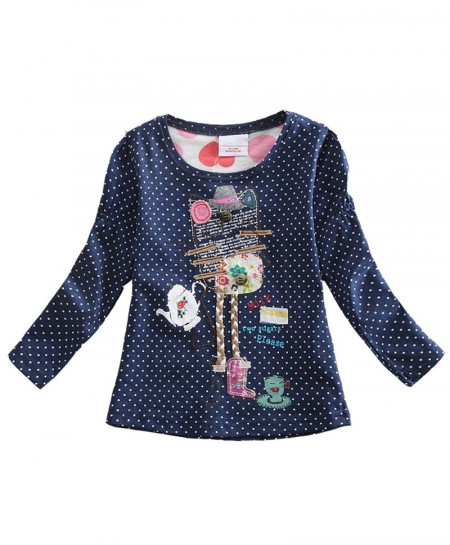 VIKITA Navy Dotted Embroided Girl Long Sleeve T-Shirt