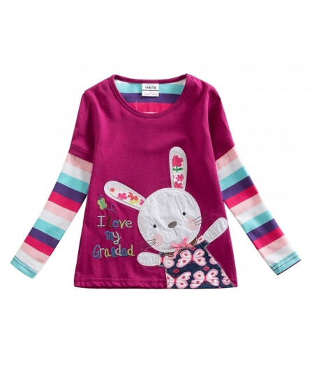 VIKITA Cartoon Rabbit Baby Girls Tops Long Sleeve T-Shirt