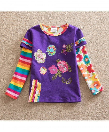 Purple Flower Embroidered Kids Long Sleeve Girl Cotton Girl T-Shirt