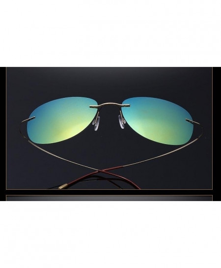Haoyu Blue 8 Titanium Polaroid Lightest Rimless Sunglasses