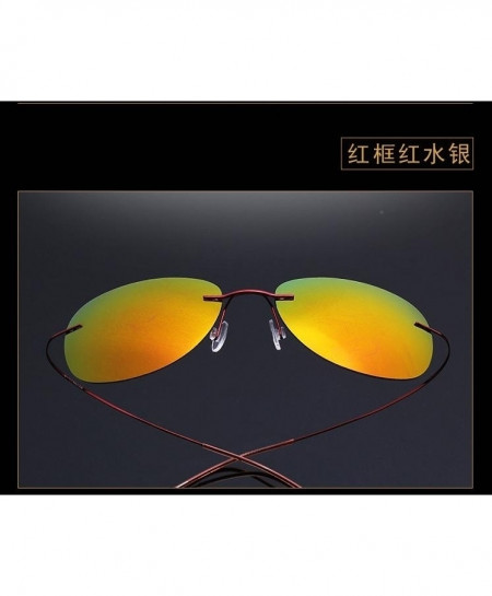 Haoyu Yellow Titanium Polaroid Lightest Rimless Sunglasses