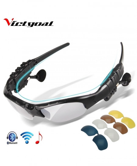 VICTGOAL 5 Lenses Polarized Bluetooth Men Motorcycling Sunglasses