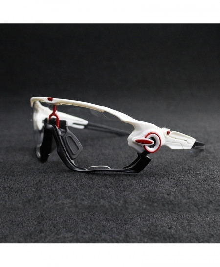 Photochromic White Black Glossy Mountain Cycling Sunglasses